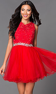 Image of babydoll short homecoming dress with beaded lace. Style: DQ-9159-v Detail Image 2