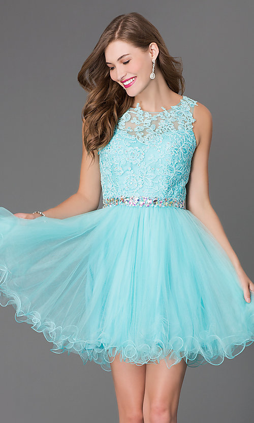 Image of babydoll short homecoming dress with beaded lace. Style: DQ-9159-v Detail Image 1