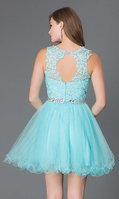Image of babydoll short homecoming dress with beaded lace. Style: DQ-9159-v Back Image