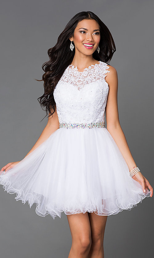 Image of babydoll short homecoming dress with beaded lace. Style: DQ-9159-v Detail Image 3