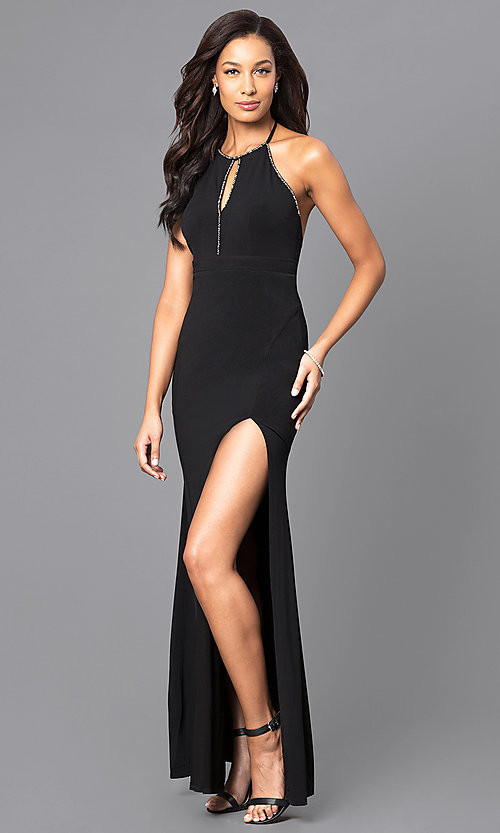Image of floor-length keyhole jersey formal dress Style: LP-23711 Front Image
