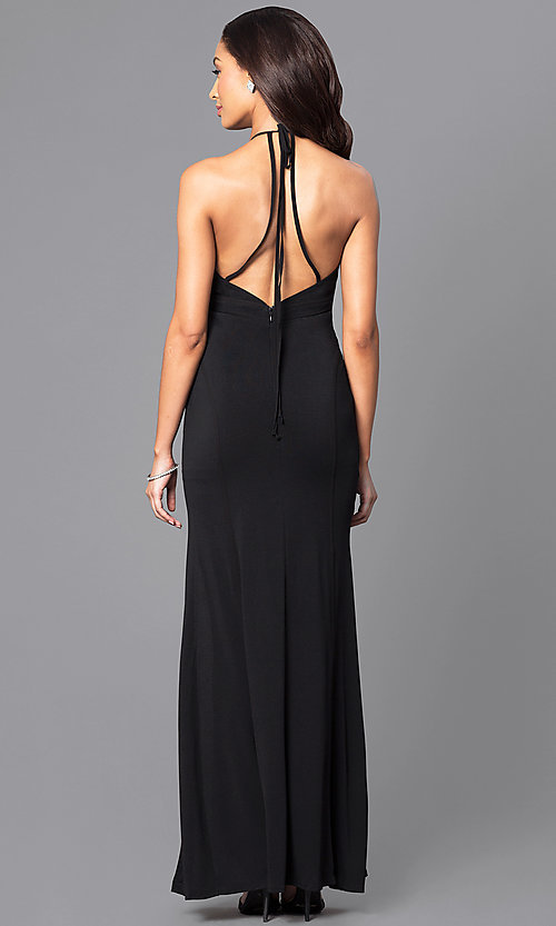 Image of floor-length keyhole jersey formal dress Style: LP-23711 Back Image