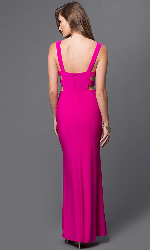 Image of V-Neck Long Formal Gown with Cut Outs Style: IT-3444 Back Image