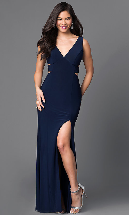 Image of V-Neck Long Formal Gown with Cut Outs Style: IT-3444 Front Image