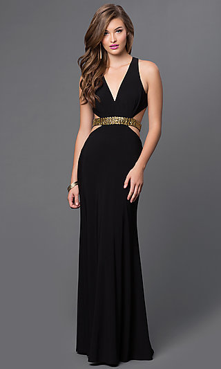 Side Cut Out V Neck Black Floor Length Dress .