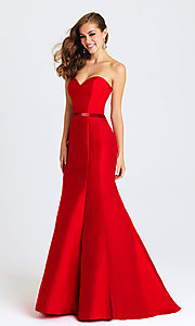 Image of strapless Madison James long mermaid gown. Style: NM-16-389 Detail Image 1