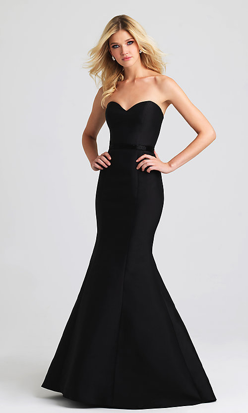 Image of strapless Madison James long mermaid gown. Style: NM-16-389 Front Image