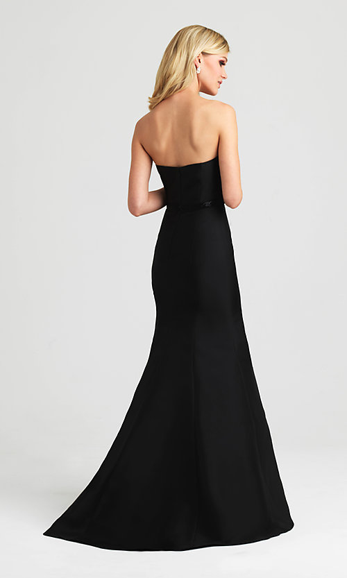 Image of strapless Madison James long mermaid gown. Style: NM-16-389 Back Image