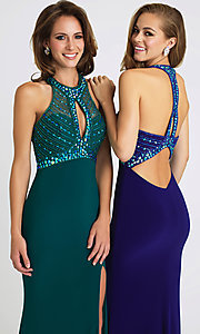 Image of Madison James keyhole open-back formal prom dress. Style: NM-16-392 Detail Image 1