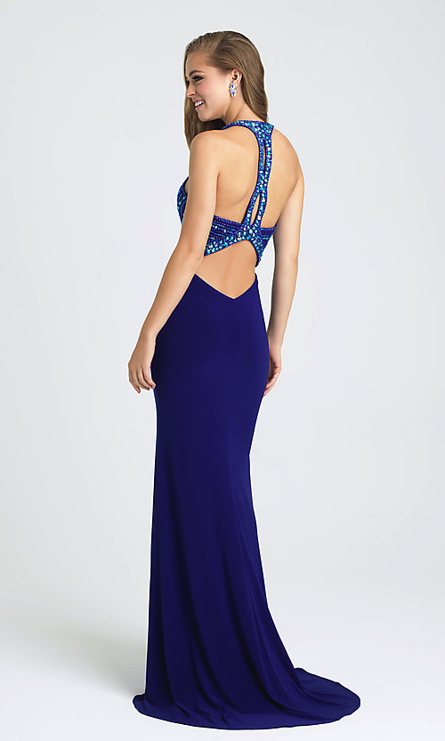 Image of Madison James keyhole open-back formal prom dress. Style: NM-16-392 Back Image