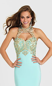 Image of Madison James fitted long open-back prom dress. Style: NM-16-396 Detail Image 1