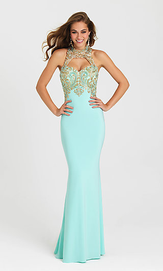 Madison James Fitted Long Open-Back Prom Dress