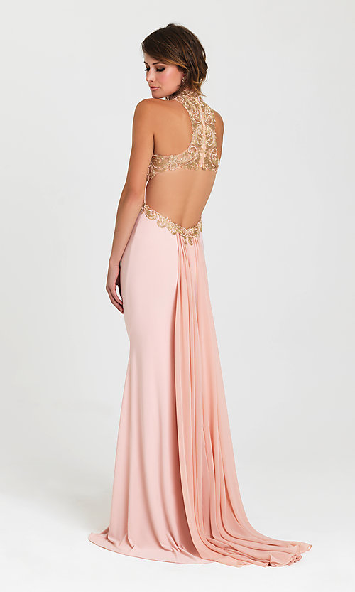 Image of Madison James fitted long open-back prom dress. Style: NM-16-396 Back Image