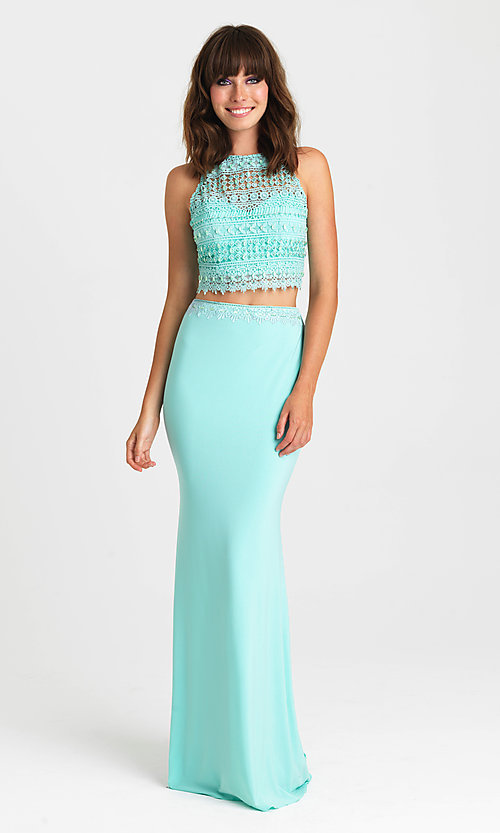 Image of long two-piece formal prom dress by Madison James. Style: NM-16-412 Front Image