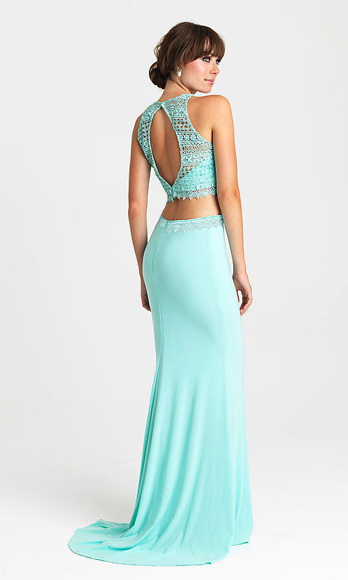 Image of long two-piece formal prom dress by Madison James. Style: NM-16-412 Back Image