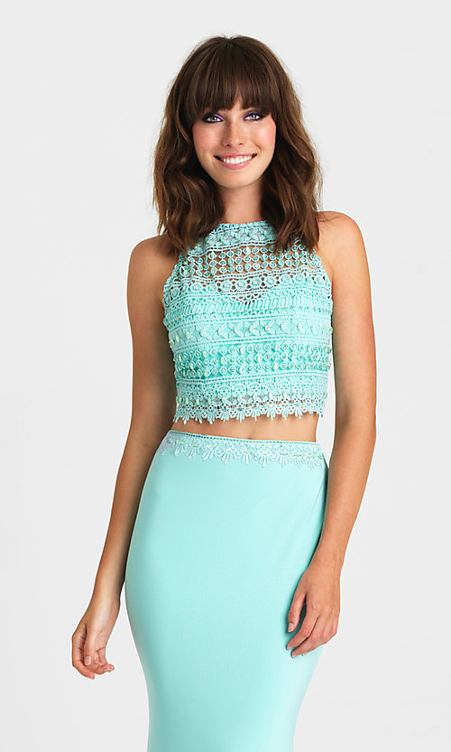 Image of long two-piece formal prom dress by Madison James. Style: NM-16-412 Detail Image 1