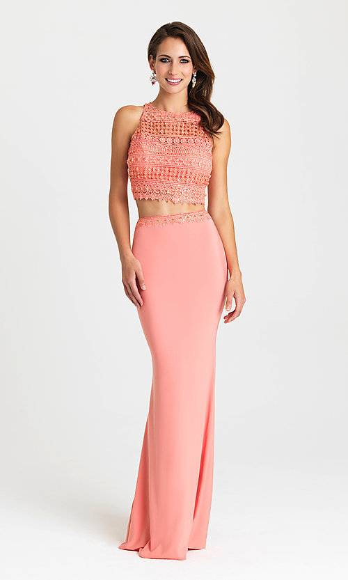 Image of long two-piece formal prom dress by Madison James. Style: NM-16-412 Detail Image 3