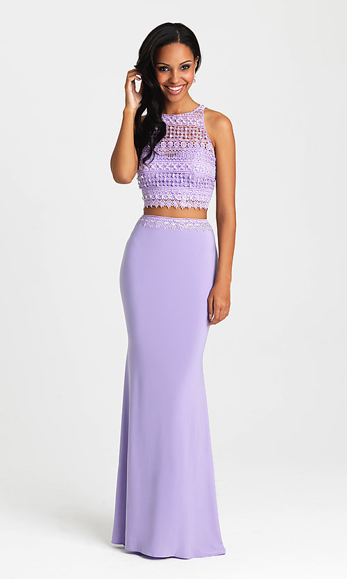 Image of long two-piece formal prom dress by Madison James. Style: NM-16-412 Detail Image 2