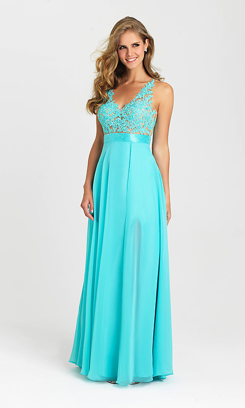 Image of long illusion-lace-bodice open-back prom dress. Style: NM-16-413 Detail Image 1