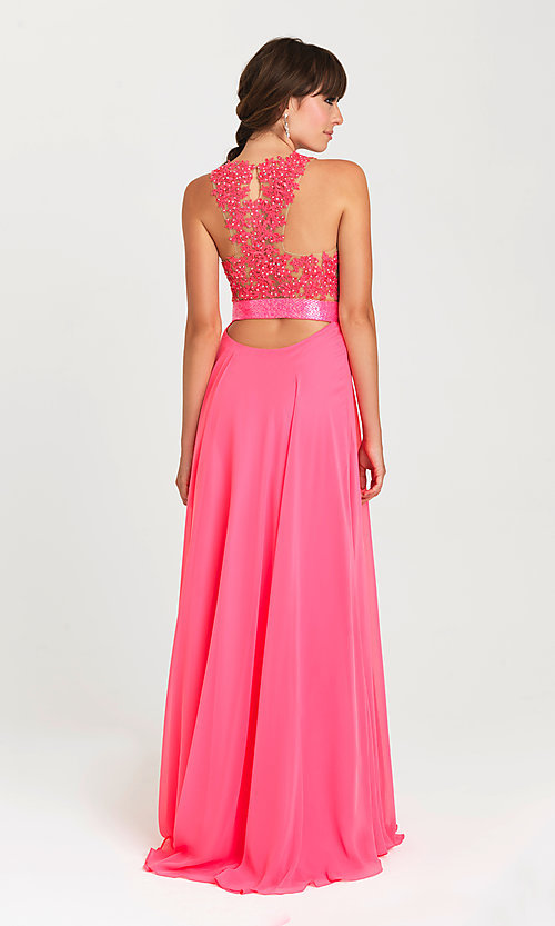 Image of long illusion-lace-bodice open-back prom dress. Style: NM-16-413 Front Image