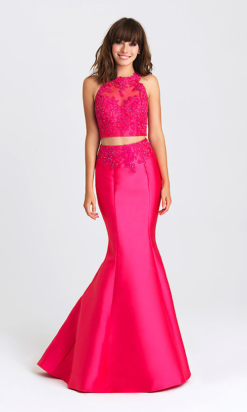 Image of two-piece mermaid-style prom gown by Madison James. Style: NM-16-433 Front Image