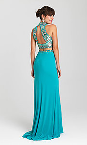 Image of open-back two-piece Madison James prom dress. Style: NM-16-435 Back Image