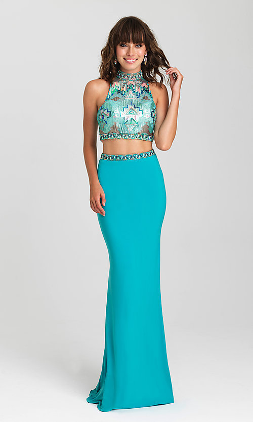 Image of open-back two-piece Madison James prom dress. Style: NM-16-435 Front Image