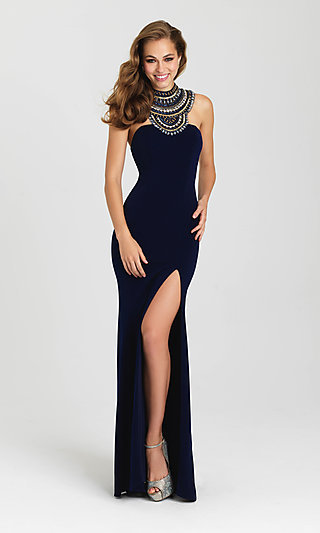Open-Back High-Neck Formal Dress by Madison James