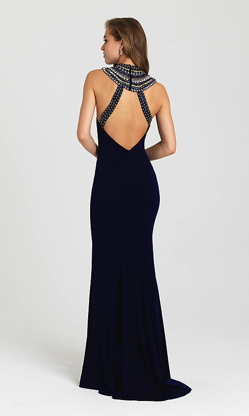 Image of open-back high-neck formal dress by Madison James. Style: NM-16-436 Back Image