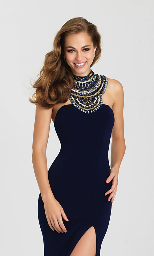 Image of open-back high-neck formal dress by Madison James. Style: NM-16-436 Detail Image 1