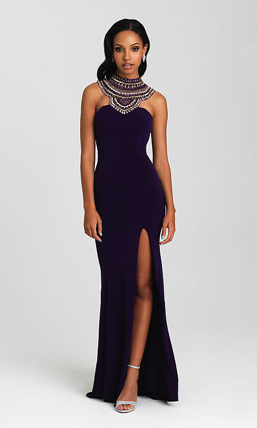 Image of open-back high-neck formal dress by Madison James. Style: NM-16-436 Detail Image 2