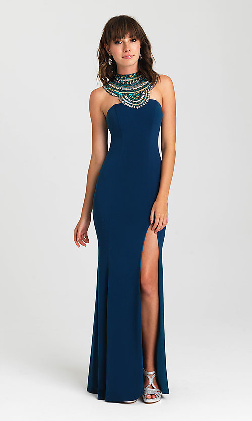 Image of open-back high-neck formal dress by Madison James. Style: NM-16-436 Front Image