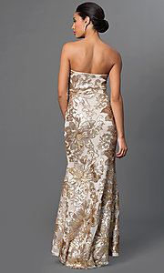 Image of strapless sequin-embellished Marina long gown Style: JU-MA-262726 Back Image