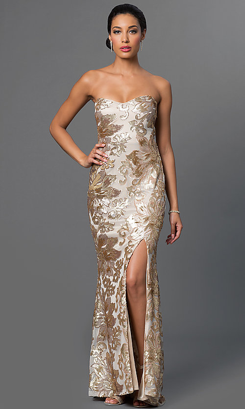 Strapless Long Sequin Marina Gown
