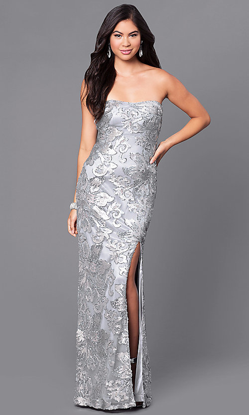 Image of strapless sequin-embellished Marina long gown Style: JU-MA-262726 Front Image
