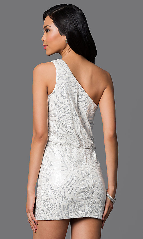 Image of sequin-embellished one-shoulder short ivory dress Style: AS-I52602154 Back Image