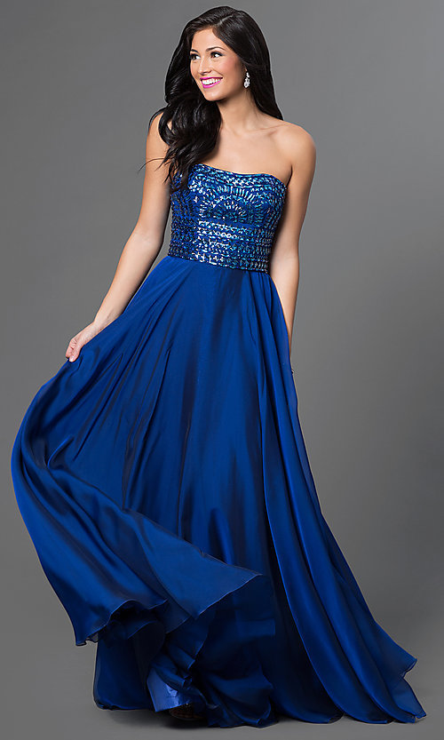Long Beaded Bodice Strapless Formal Gown