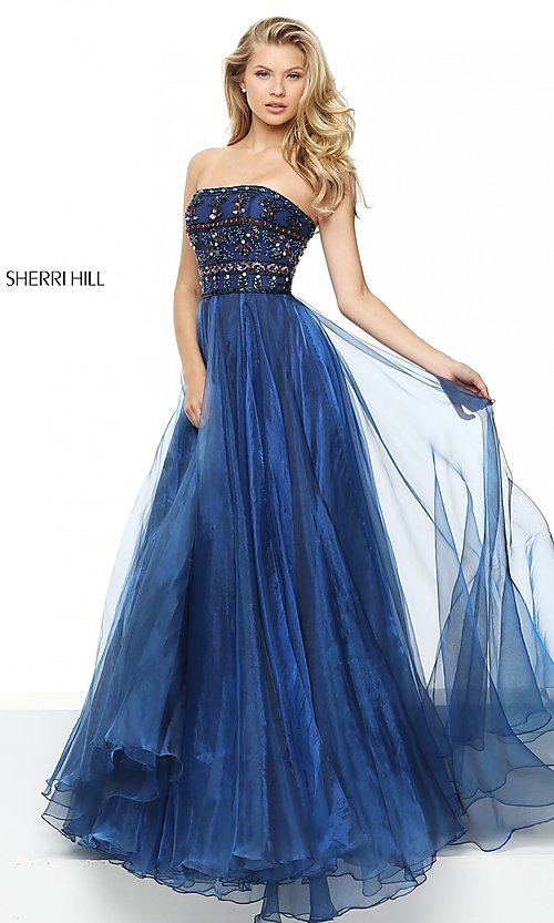 Jeweled-Bodice Formal Sherri Hill Long Prom Dress