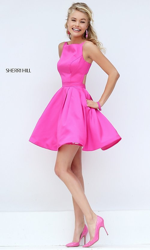 Image of short sleeveless Sherri Hill party dress. Style: SH-50427 Front Image
