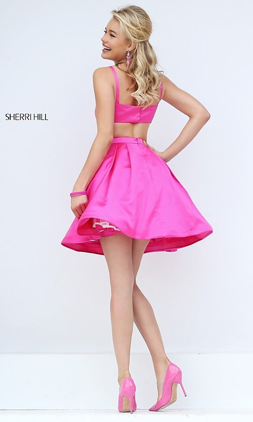 Image of short sleeveless Sherri Hill party dress. Style: SH-50427 Back Image