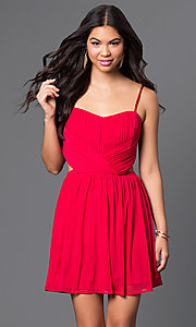 Image of spaghetti-strap cut-out short party dress Style: MQ-2870504 Detail Image 3