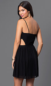 Image of spaghetti-strap cut-out short party dress Style: MQ-2870504 Back Image