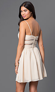 Image of spaghetti-strap short champagne party dress. Style: MQ-111065 Back Image
