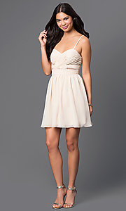 Image of spaghetti-strap short champagne party dress. Style: MQ-111065 Detail Image 1