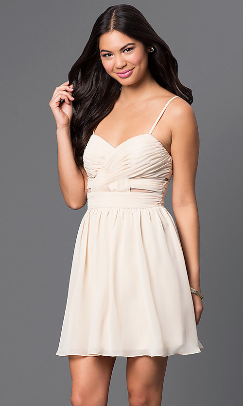 Image of spaghetti-strap short champagne party dress. Style: MQ-111065 Front Image