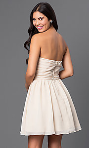 Image of strapless short champagne-colored party dress Style: MQ-1110845 Back Image