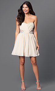 Image of strapless short champagne-colored party dress Style: MQ-1110845 Detail Image 1