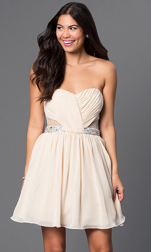 Image of strapless short champagne-colored party dress Style: MQ-1110845 Front Image