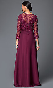 Image of long formal gown with removable 3/4-sleeve jacket. Style: FB-GL1397Y Back Image