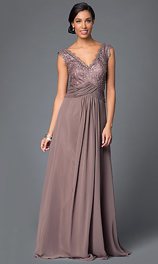 Long Formal Gown with Removable 3/4-Sleeve Jacket